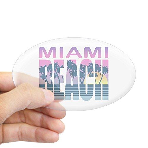 CafePress - Miami Beach Oval Sticker - Oval Bumper Sticker, Euro Oval Car Decal