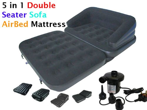 INFLATABLE 5 IN 1 DOUBLE SEATER - 2 PERSON SOFA COUCH FLOCKED AIR BED DOUBLE MATTRESS AIRBED LOUNGER WITH ELECTRIC SIDEWINDER 240V PUMP - PULL OUT SOFA BED Denny International®