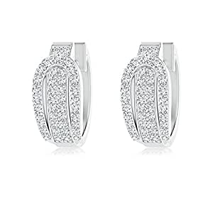 Angara Belt Buckle Style Pave-Set Diamond Hinged Hoop Earrings lDWTQL