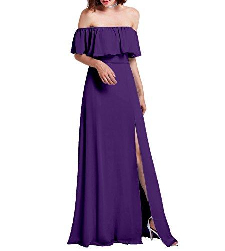 Amore Mousseline De Mariée De Robe De Mariée Épaule Robe De Demoiselle D'honneur Du Soir Haute Fente Violet