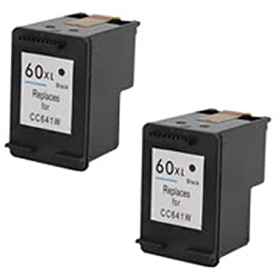 Amsahr 60XLBK(CC641WN) Remanufactured Replacement HP Ink Cartridges for Select Printers/Faxes with 2 Black Cartridges