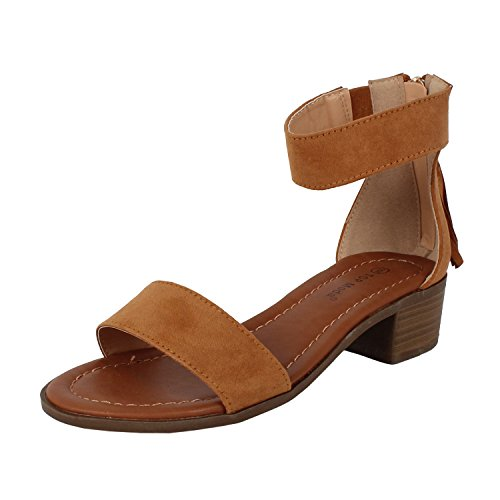 Top Moda Women's Tassel Fringe Zip Back Block Heel Sandal Dark Tan (TS) 8.5 (Block Womens Platform Heel)