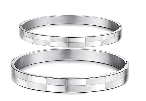 Cut Stainless Steel Bangle (SOPO Stainless Steel Cut Line Bangle Bracelets Wristband for Lover Couple 2 Pc)