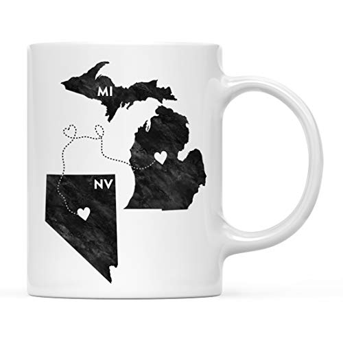 (Andaz Press 11oz. Coffee Mug Long Distance Gift, Michigan and Nevada, Black and White Modern, 1-Pack, Moving Away Graduation University College Gifts for Him Her Relationships )