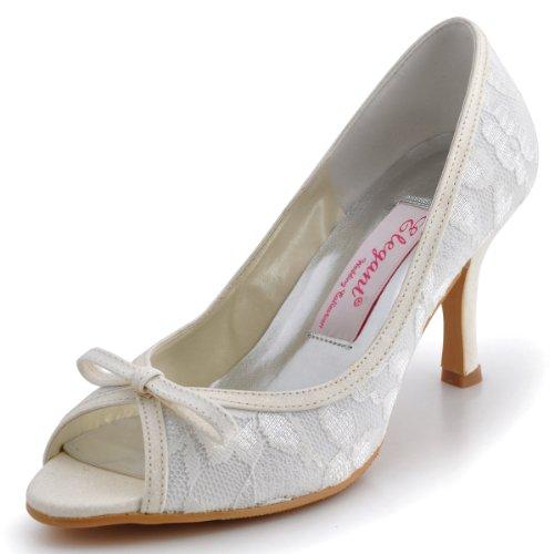 ElegantPark EL-029B Women's Peep Toe Bows Pumps High Heel Lace Wedding Bridal Shoes Ivory US 8