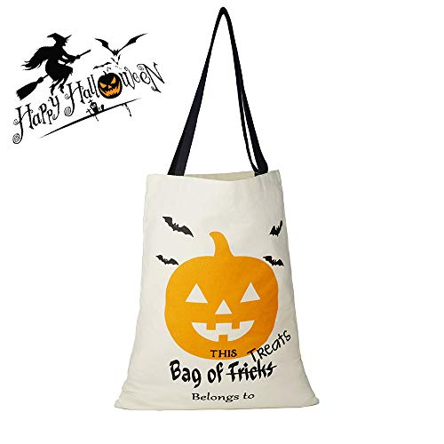 Halloween Treat Bag, Personalized Candy Gift Sack Goodies Bucket Tote Favor Reusable Bag for Trick or Treat 13.2 x 17.3 -