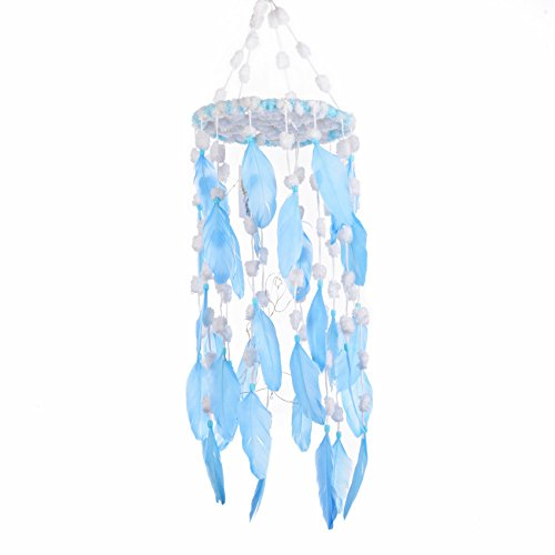 Light Blue Dream Catcher Feather Mobile 8''x 22'' with LED Fairy Lights Battery Operated for Teepee Hanging Nursery Kids Bedroom Wall Decor by DrCor