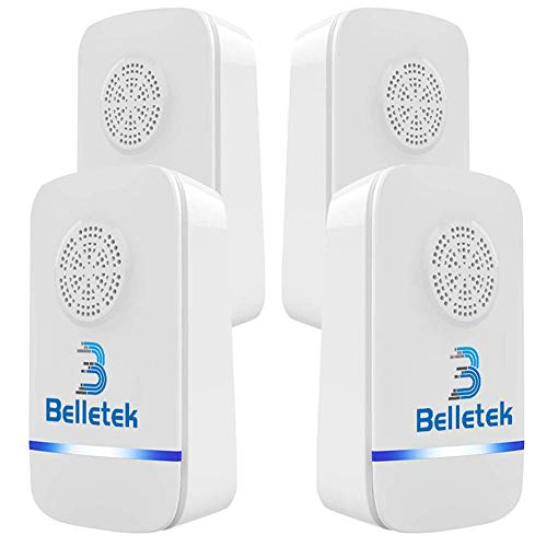 Belletek Pest Control Ultrasonic Repeller for Mosquitoes- Safe for Children and Pets - Quickly Eliminates Flies, Cockroaches, Spiders, Fleas, Mice, Rats (Pack of 4)