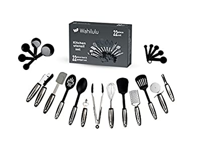 Premium Kitchen Utensils Set By Wahilulu - 22pc Cooking, Baking & Serving Essential Accessories & Tools Bundle - Stainless Steel & Nylon - Turners, Tongs, Spoons, Spatula & Other Cookware