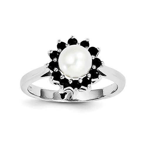Sterling Silver Rhod 6mm FW Cultured Button Pearl & Sapphire Ring Size 6 (Cultured Pearl Sapphire Bracelet)