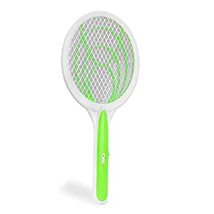 Handheld Best Electric Bug Zapper Racket Mosquito Fly Swatter Unique 3 Layer Safety Mesh for Summer Indoor and Outdoor, Large Zap Pest and Insect Control Heavy Duty