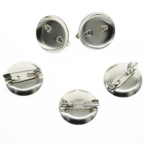 200Pcs Badge Brooch Pin Base Pad Metal Blanks Trays Backs DIY Craft Findings in Diameter 25MM