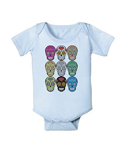 TooLoud Dia de Los Muertos Calaveras Sugar Skulls Baby Romper Bodysuit - Light Blue - 18 Months