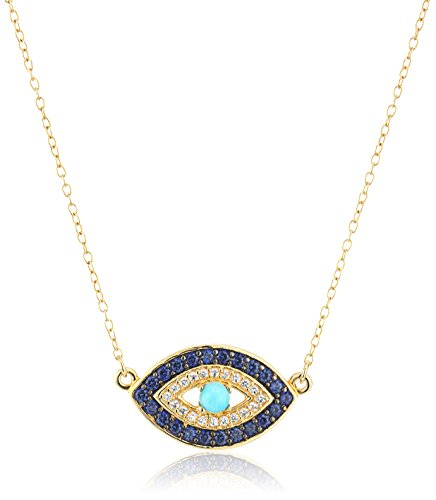 18k Yellow Gold Plated Sterling Silver Stabilized Turquoise with Created Blue and White Sapphire Evil Eye Necklace, 18""