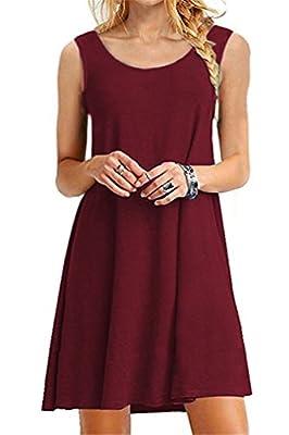 VOGRACE Women's Basic Sleeveless Casual Loose Swing Tank Dress Sundress