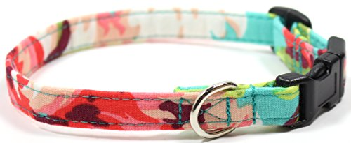 r with Pink Buckle, Hawaii Inspired Designer Cotton Dog Collar, Adjustable Handmade Fabric Collars (XS Black) (Aloha Girl)