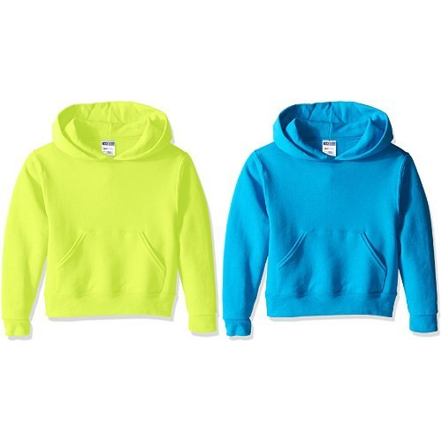 Jerzees Youth Pullover Hood, Safety Green, X-Large with California Blue, (Athletic Ribbed Pullover)