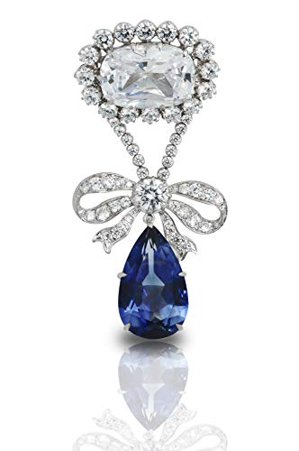 Adastra Jewelry 925 Sterling Silver Brooch pin 150 cttw blue pear white cushion halo dangling (Diamond Shape Dangling)