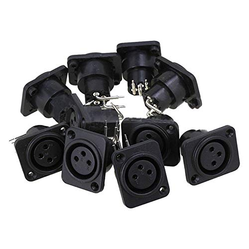 (Davitu 10pcs Black XLR 3pin Female Jack Panel Mount Chassis PCB Socket Connector )