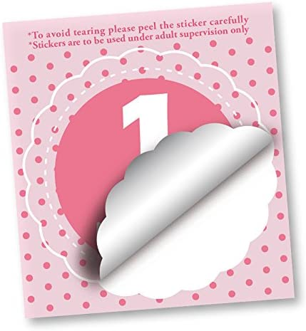 Baby Monthly Stickers Girl MuchMore Balloon Shape Shower Keepsake Photo Prop