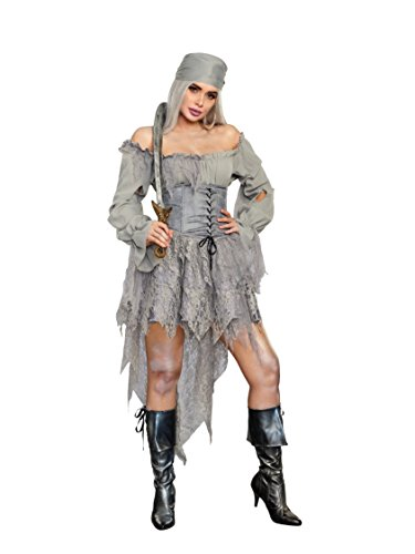 Dreamgirl Women's Pirate Ghost Costume Dress, Gray Small