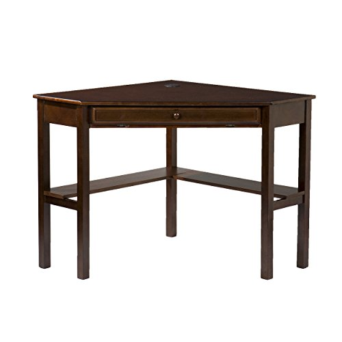 "Southern Enterprises Corner Computer Desk 48"" Wide, Espresso Finish"