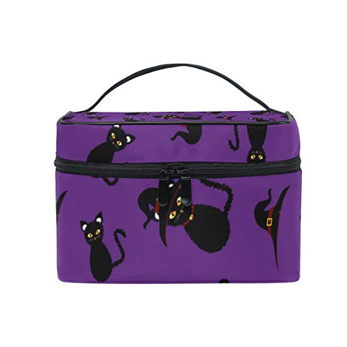 Makeup Bag Halloween Black Cat Purple Cosmetic Case Portable Carry Travel Toiletry Bag Toiletry Bags for Womens Storage Bag]()