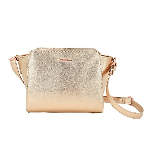 ESA Women's Handbag Style Fashion Crossbody Bag with Multi-Pocket Wing Purse Medium Size Lightweight Bag with Plate Fitting (Rose Gold) (Shiny Gold Plate)