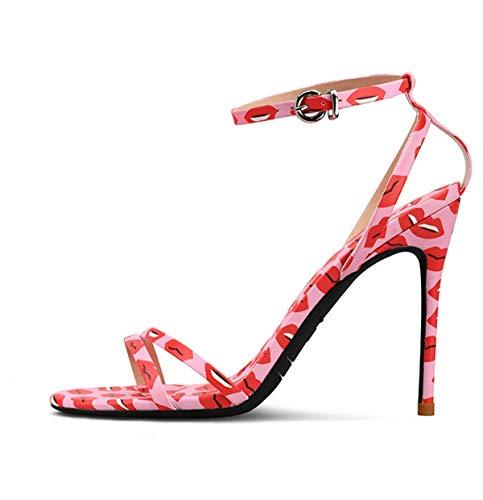 Rouge Talon Casual Mode Aiguille Haut Femme 10cm Noir Rose Grande Soirée Fanessy Pour Chaussure Boucle Élégant À Sandales Escarpins Chic Taille 7vaxnqI