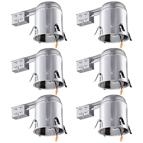 TORCHSTAR 6-inch UL-Listed Remodel Can, Air Tight IC Housing, TP24 Connector Included for LED Recessed Retrofit Kit, 120-277V Voltage, Max Wattage 18W, Pack of 6