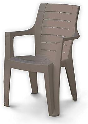 Silla, sillón de resina apilable de jardín, terraza Cleopatra, color topo, cód. 003718: Amazon.es: Jardín