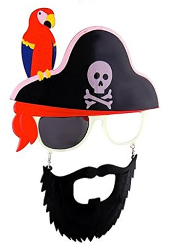 Cross Skull Parrot Pirate Beard (Parrot For Pirate Costume)