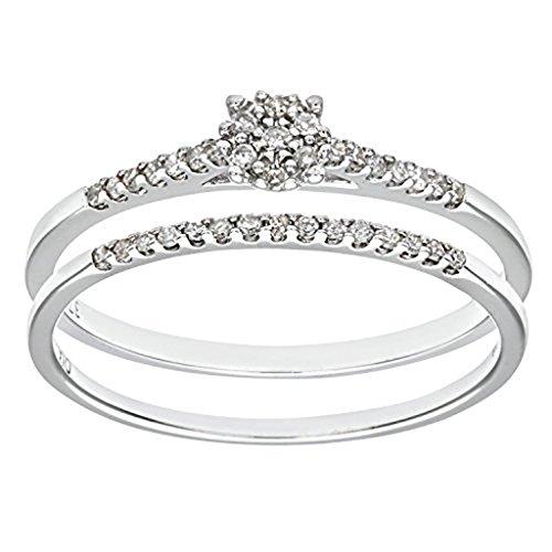 mglmahi or blanc 9carats Diamant Look Grappe Mesdames Bague de Mariage
