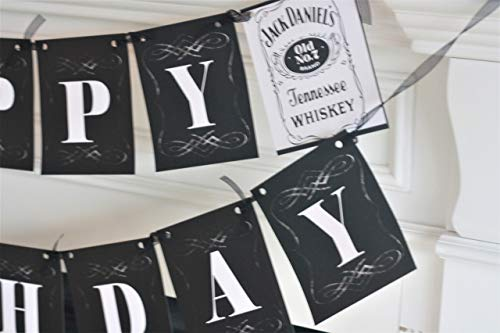 Happy Birthday Jack Daniels Whisky Vintage Over the Hill 30th 40th 50th 60th ChalkboardTheme Banner - Matching Items Available - Signs, Favor Tags, Cupcake Toppers etc.