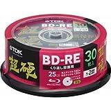 TDK 録画用ブルーレイディスク 超硬シリーズ BD-RE 25GB 1-2倍速 プリンタブル 30枚入 BEV25HCPWA30PABK