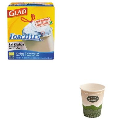KITCOX70427GMT93766 - Value Kit - Green Mountain Coffee Roasters Eco-Friendly Paper Hot Cups (GMT93766) and Glad ForceFlex Tall-Kitchen Drawstring Bags (COX70427)