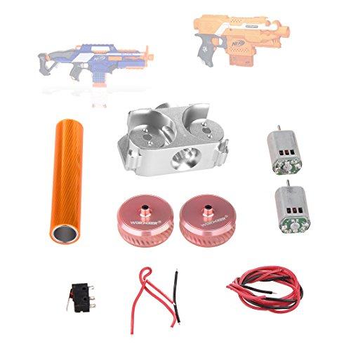 Flywheel Set - Worker Modification Accessories kit Twill Metal Power Type Flywheel Set for Nerf N-Strike Elite Stryfe Blaster/Nerf N-Strike Elite Rapidstrike CS-18 Blaster - Rosy Golden