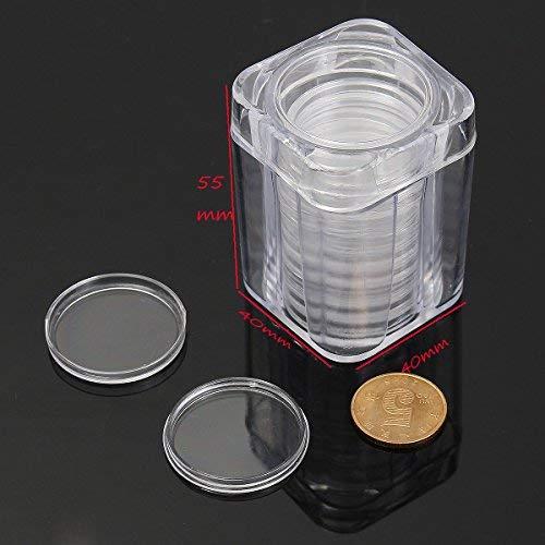 Tubo de pl/ástico Transparente para colecci/ón de Monedas conmemorativas con Caja Redonda peque/ña de 10 Unidades Terrarum