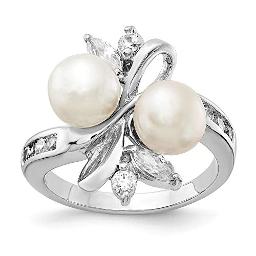925 Sterling Silver Rhod Plated Cubic Zirconia Cz White Freshwater Cultured Pearl Leaves Band Ring Size 8.00 Fine Jewelry Gifts For Women For Her ()