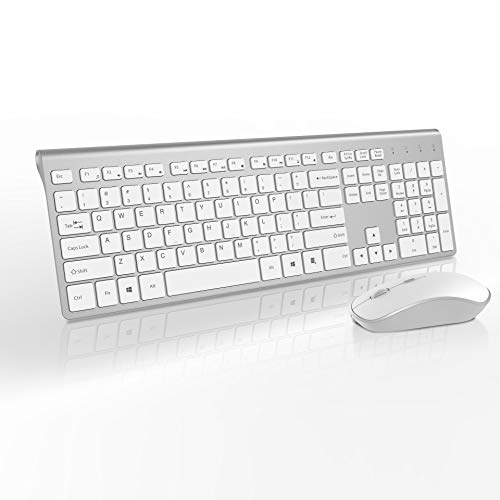 (Wireless Keyboard and Mouse Combo-J JOYACCESS Portable Ergonomic Keyboard and Mouse with 500mAh Rechargeable Batteries,2.4GHz Stable Connection,Silent Mouse for Desktop and Laptop-White+Silver)