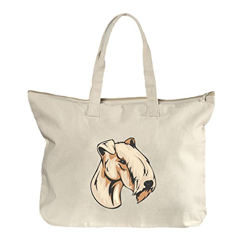 Lakeland Terrier Head Canvas Beach Zipper Tote Bag - Shopping In Lakeland Florida
