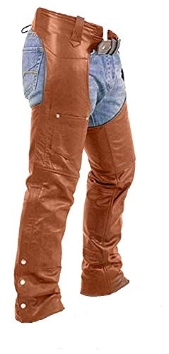 Brown Real Leather Chaps Mens Motorcycle Leather Chaps Trouser Pants Jeans Biker Chaps W40 X L32