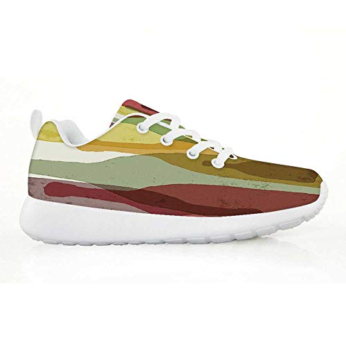 (Wine Comfortable Running Shoes,Abstract Composition with Watercolor Silhouettes Bottles of Wine Whiskey Tequila Vodka Decorative for Kids Boys,EU34)