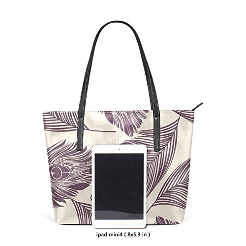 COOSUN Pfau Federn Muster PU Leder Schultertasche Handtasche und Handtaschen Tasche für Frauen