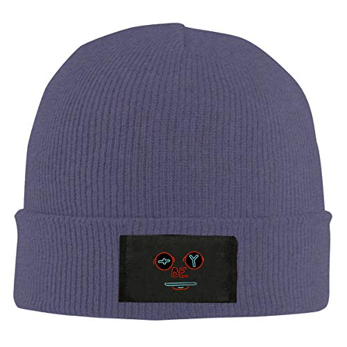 Obey Face Unisex Beanie Cap,Winter Warm Knit Skull Hat Navy