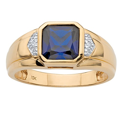 Gold Ceylon Sapphire Ring - Men's 10K Yellow Gold Square Cut Simulated Blue Sapphire and Diamond Accent Ring Size 12