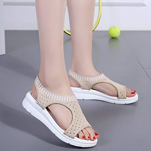 CCOOfhhc Women's Flat Sandals Comfy Platform Sandal Shoes Summer Beach Travel Shoes Non-Slip Casual Shoes Beige by CCOOfhhc (Image #7)