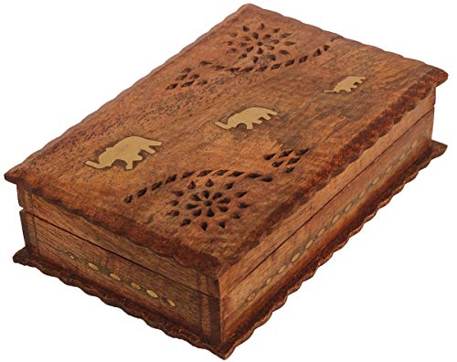 Crafkart Mother's Day Deals on Wood Art Elephant Jewelry Box - Handmade Unique Ractangular Keepsake Box - Original Work of Wood Art. Celtic Gift, Ring, Wood Trinket Jewelry Box