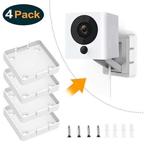 Yuzz (Pack of 4 Wyzecam V2 Wall Mount Bracket, Wall and Ceiling Mount for Wyze Cam 1080p HD Camera and iSmart Alarm Spot Camera, Full Install Kit (Not Including Cameras)