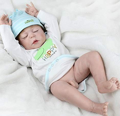 NPK Realistic Reborn Baby Dolls Boy Silicone Full Body 22 Inches Sleeping Baby Look Real Cute Newborn Reborn Dolls Anatomically Correct (Silicone Baby Dolls Full Body)